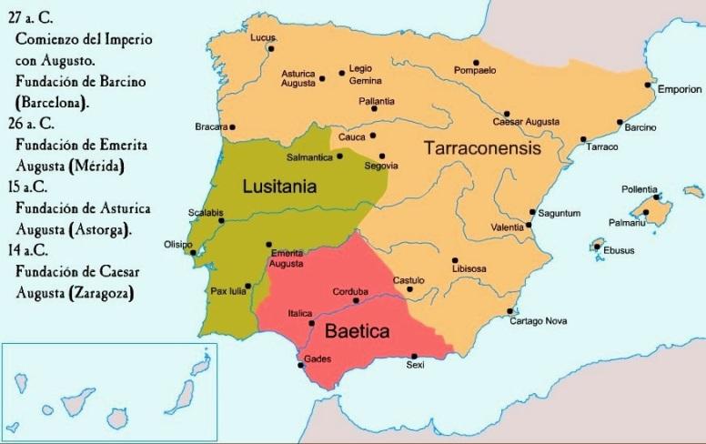 Mapa división de Augusto .- Tarraconense, la Lusitania y la Bética.