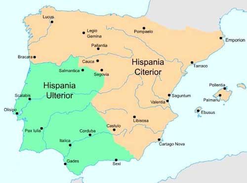 Mapa de Hispania con las provincias Citerior y Ulterior del año 197 a.C.